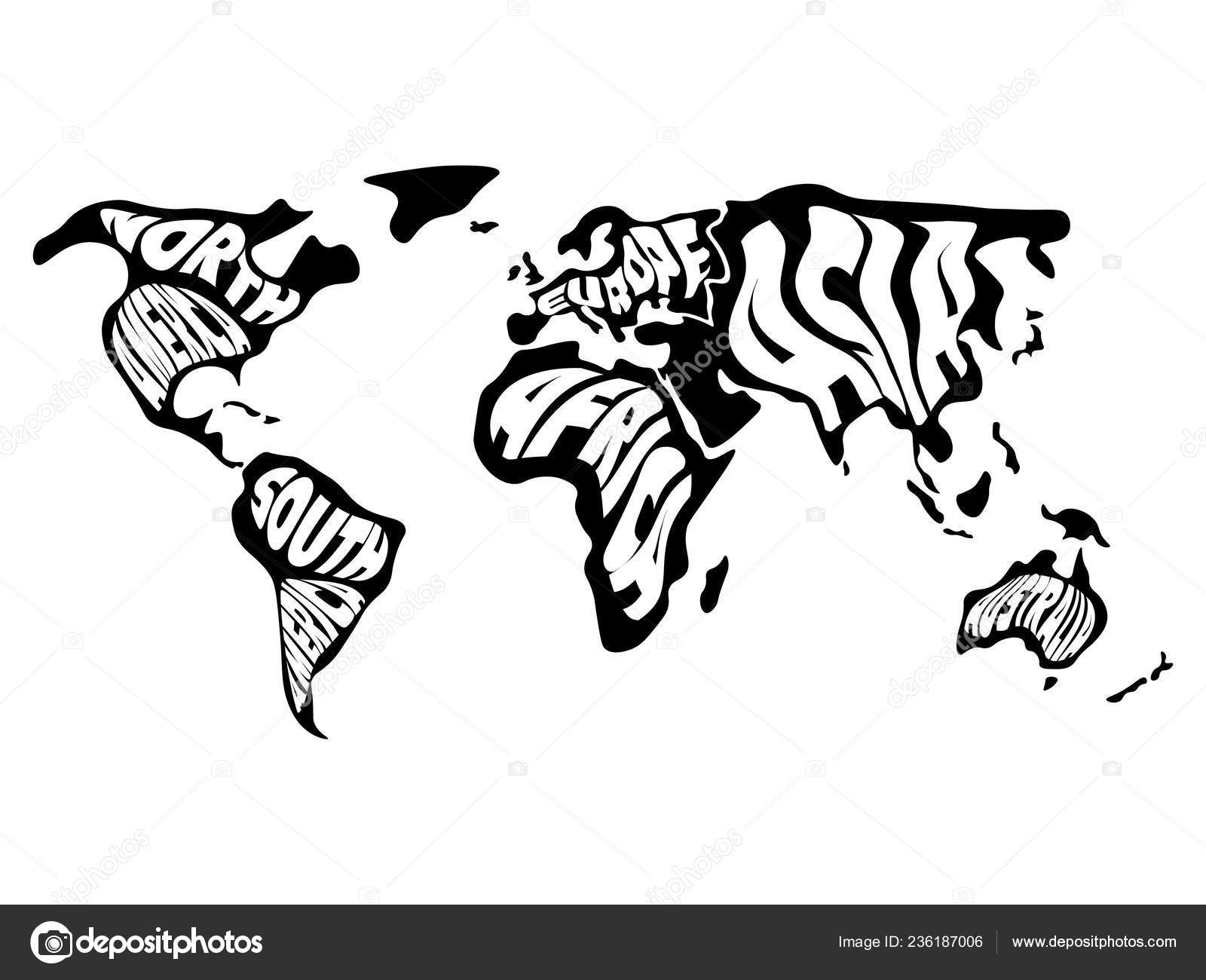 World map divided into six continents. Name of each ... on world map with all continents, world map unlabeled, earth divided into continents, atlas divided into continents, world map of continents identified, names of continents, world map outline continents, simple map of continents,