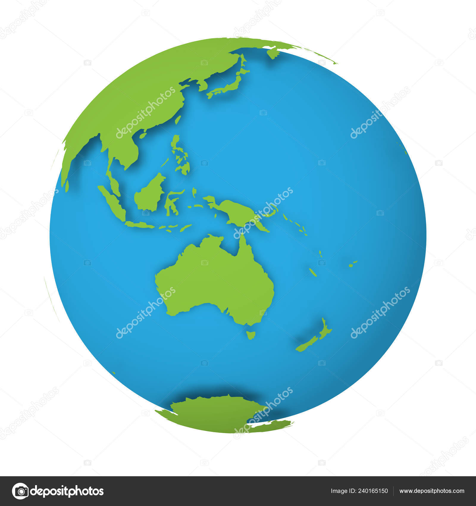 Natural Earth Globe 3d World Map With Green Lands Dropping Shadows