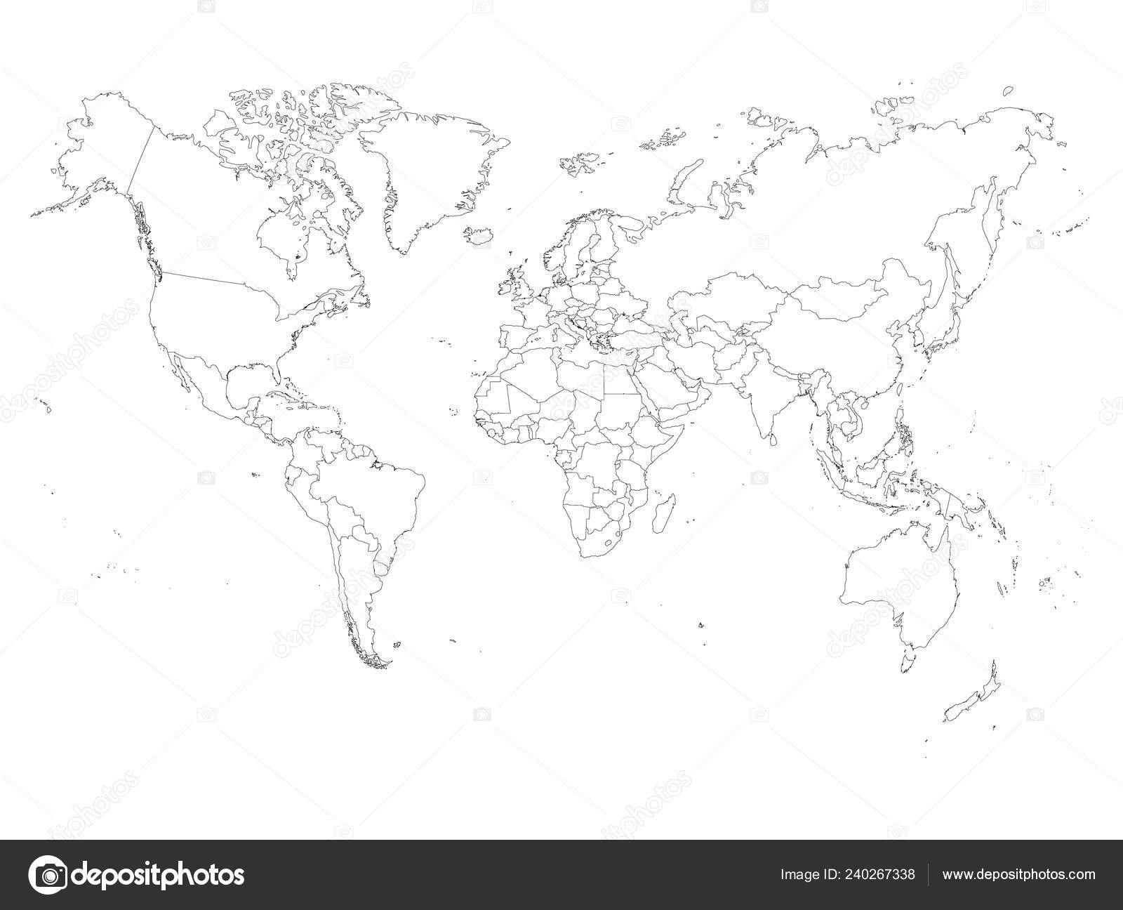 Cartina Geografica Del Mondo Muta.Blank Outline Map Of World Vector Illustration Stock