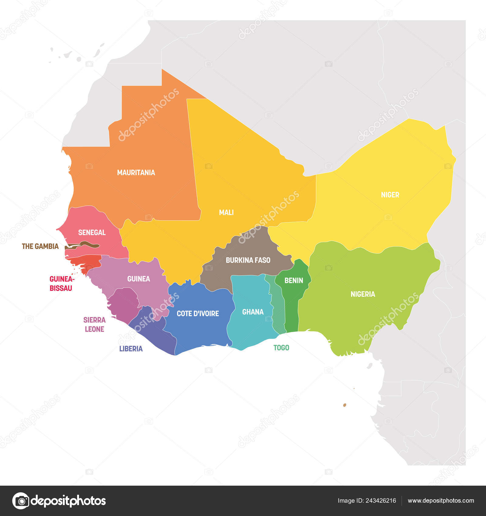Map Western Africa.West Africa Region Colorful Map Of Countries In Western