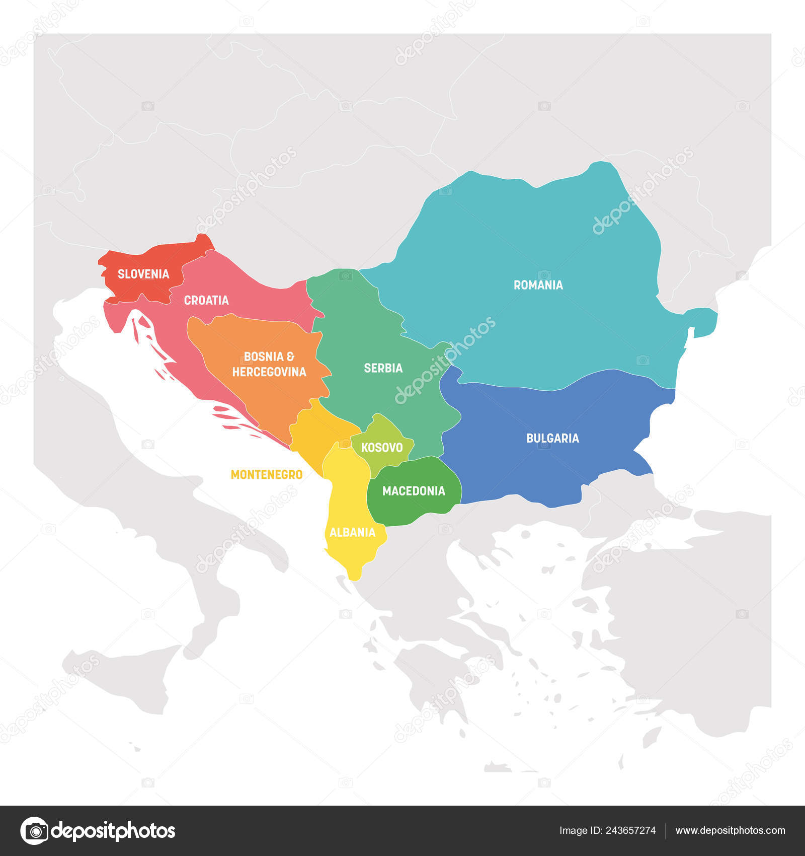 Southeast Europe Region Colorful Map Of Countries Of Balkan