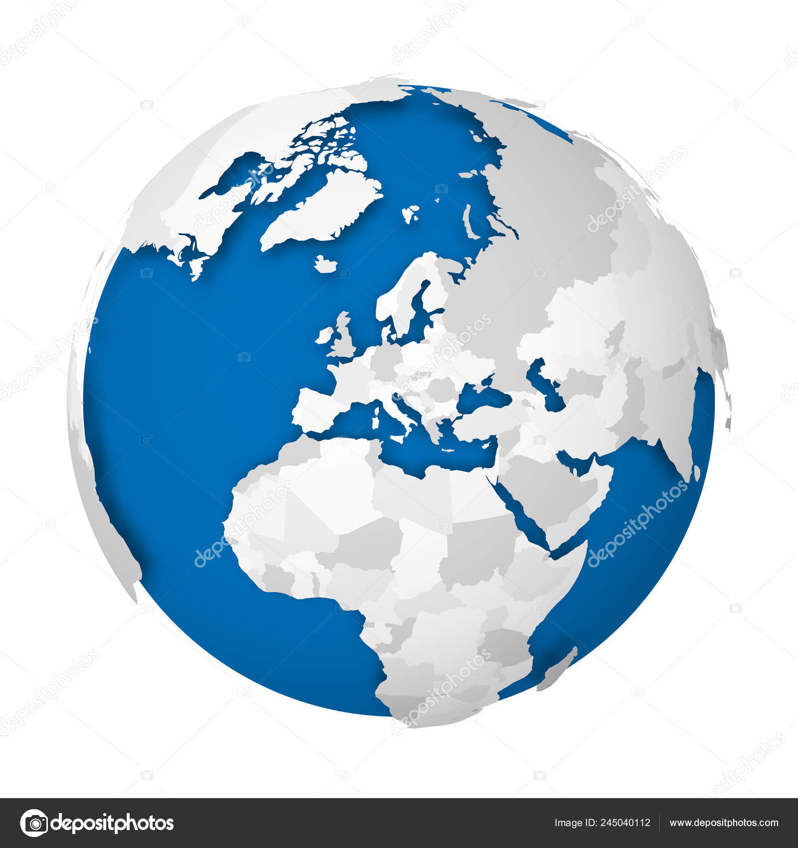 Earth globe. 3D world map with grey political map of ... on globe map world, globe map italy, globe map austria, globe map philippines, globe map india, globe map norway, globe map asia, globe map europe, globe map states, globe map art, globe map africa, globe map finland,