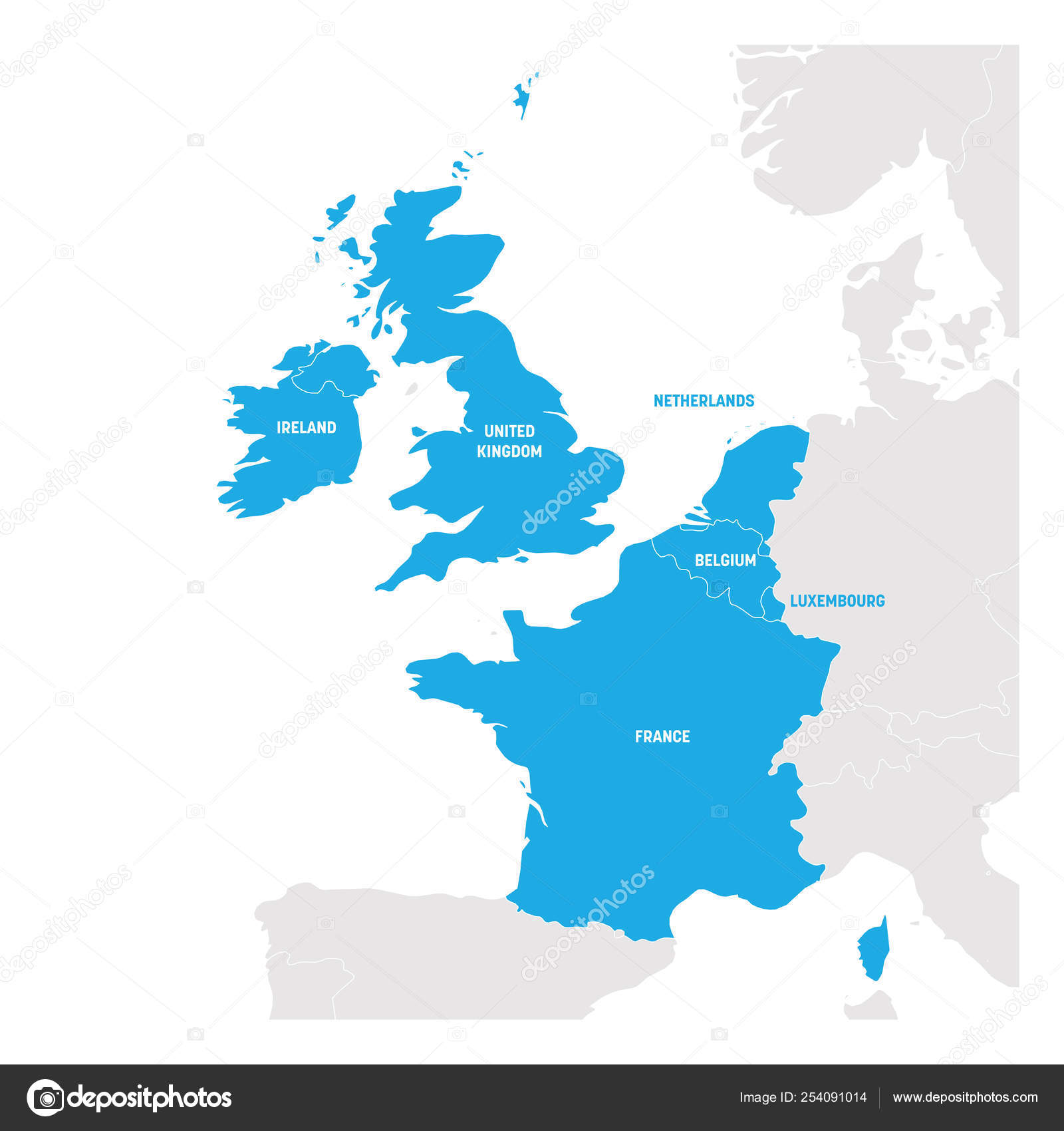 West Europe Region Map Of Countries In Western Europe Vector
