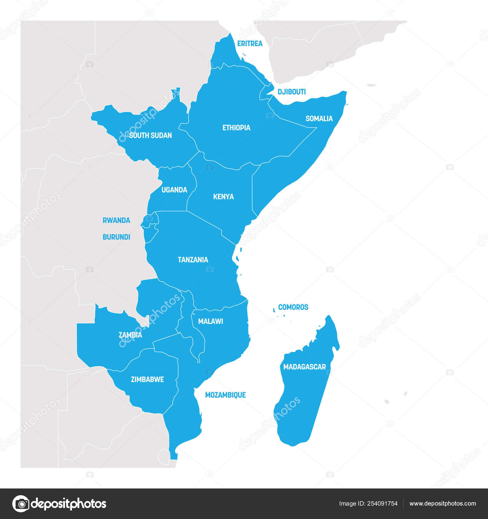 Map Of East Africa Showing Countries.East Africa Region Map Of Countries In Eastern Africa