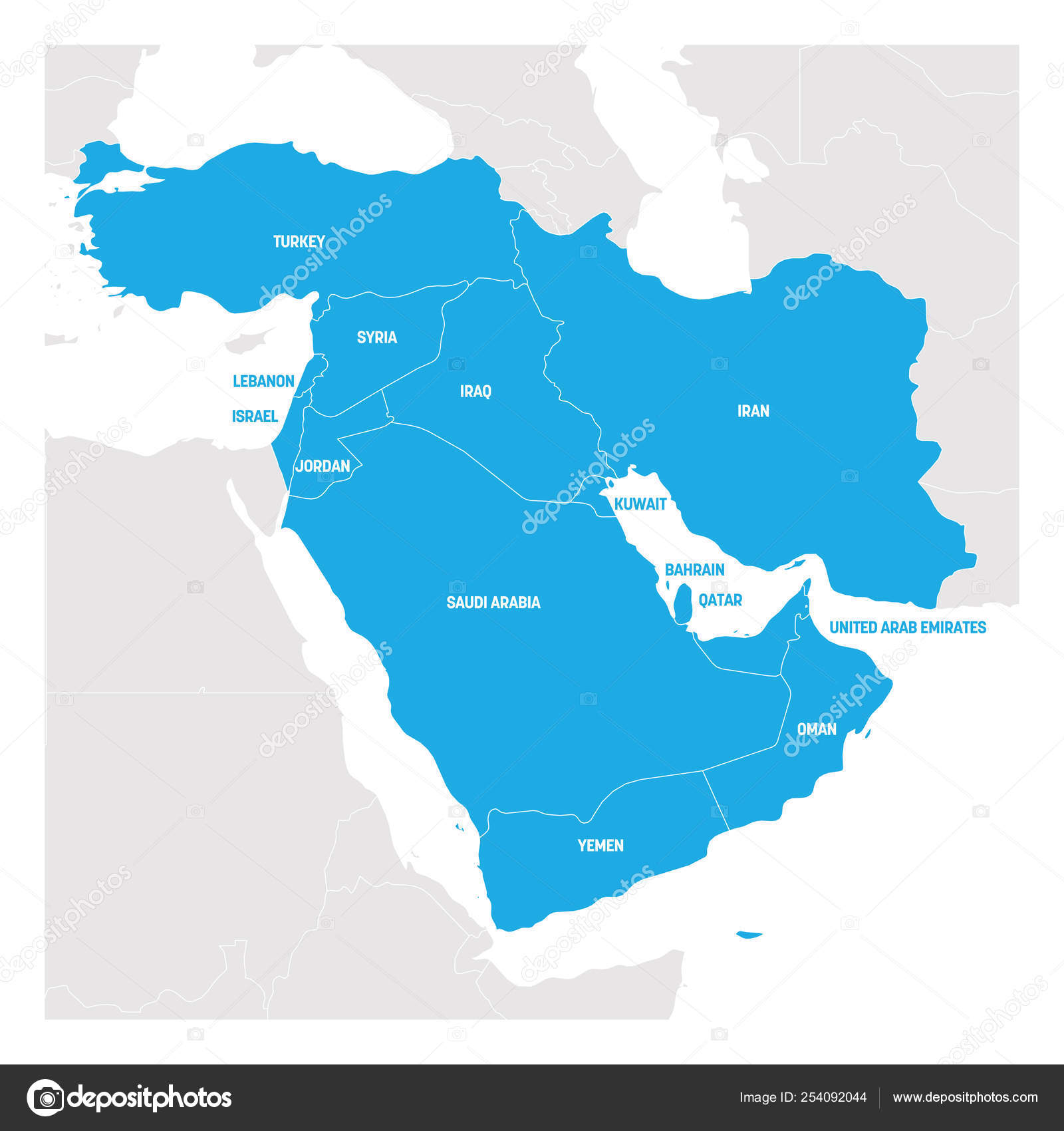 West Asia Region. Map of countries in western Asia or Middle East ...
