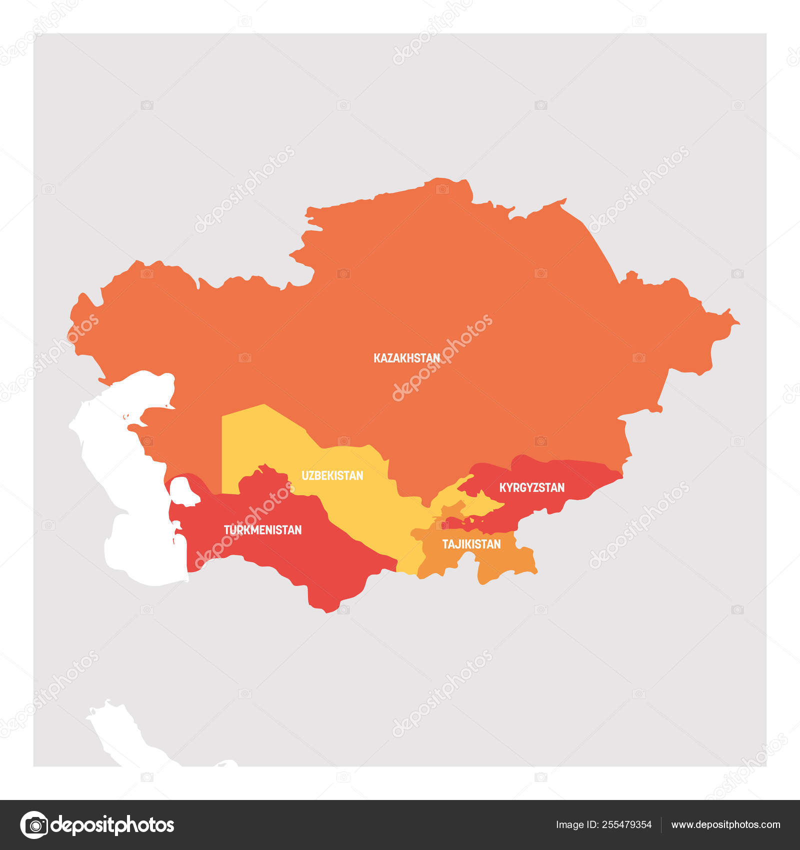 Central Asia Region. Map of countries in central part of Asia ...