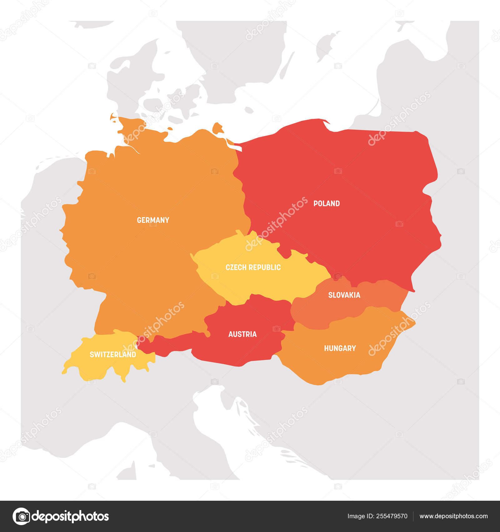 Mapa De Europa Central.Central Europe Region Map Of Countries In Central Part Of