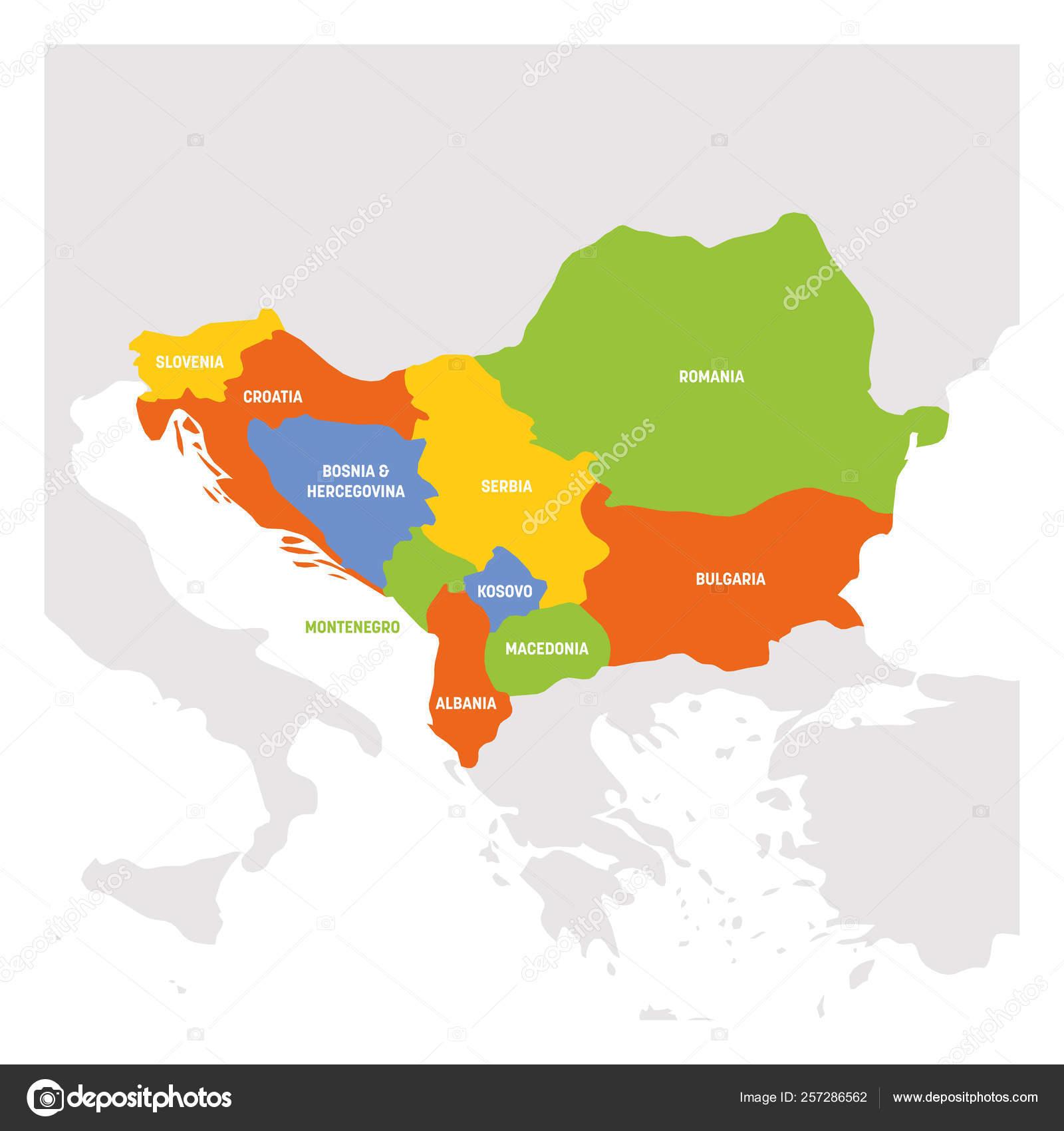 Southeast Europe Region Map Of Countries Of Balkan Peninsula