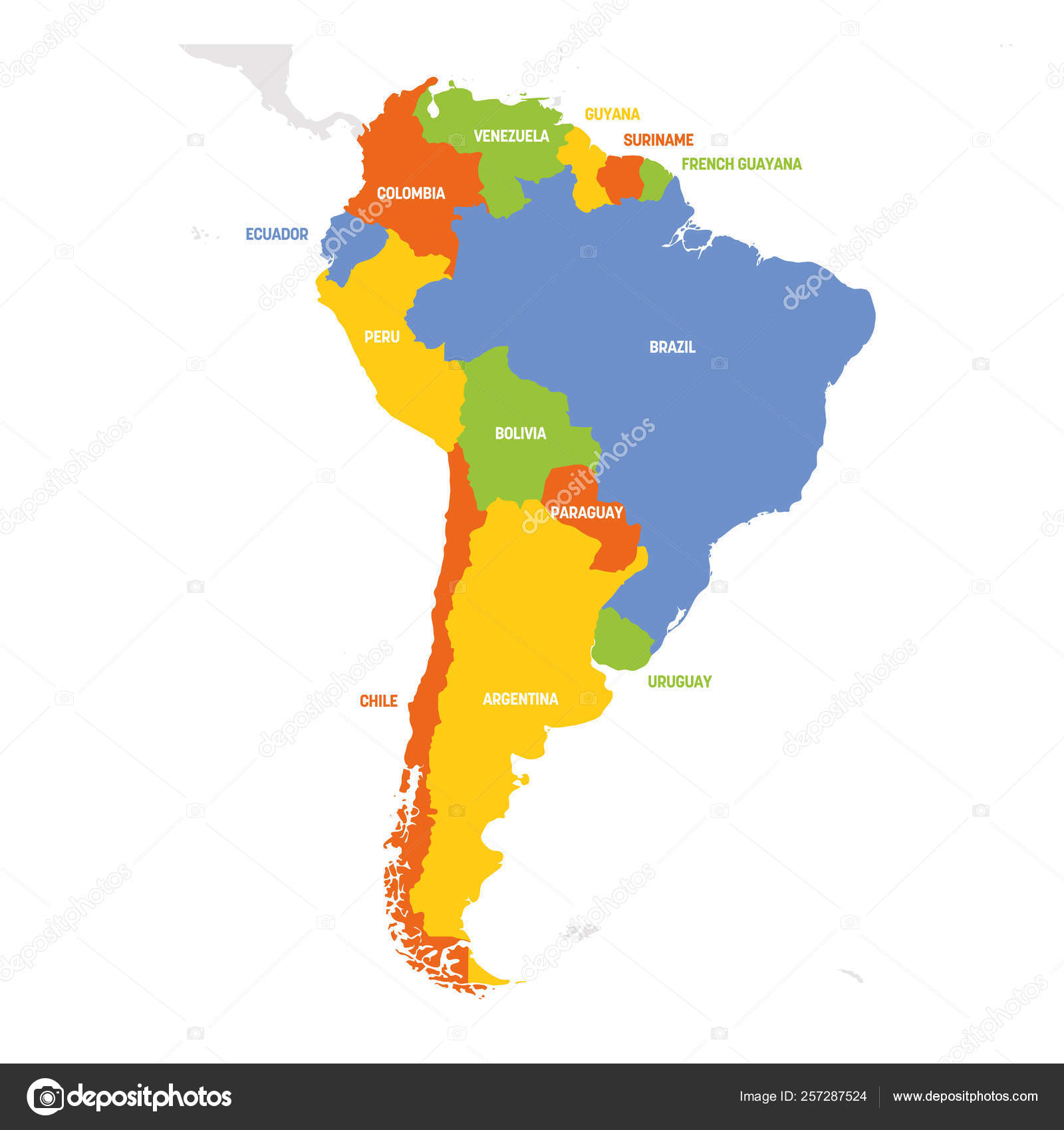 South America Region. Map of countries in southern America. Vector ...