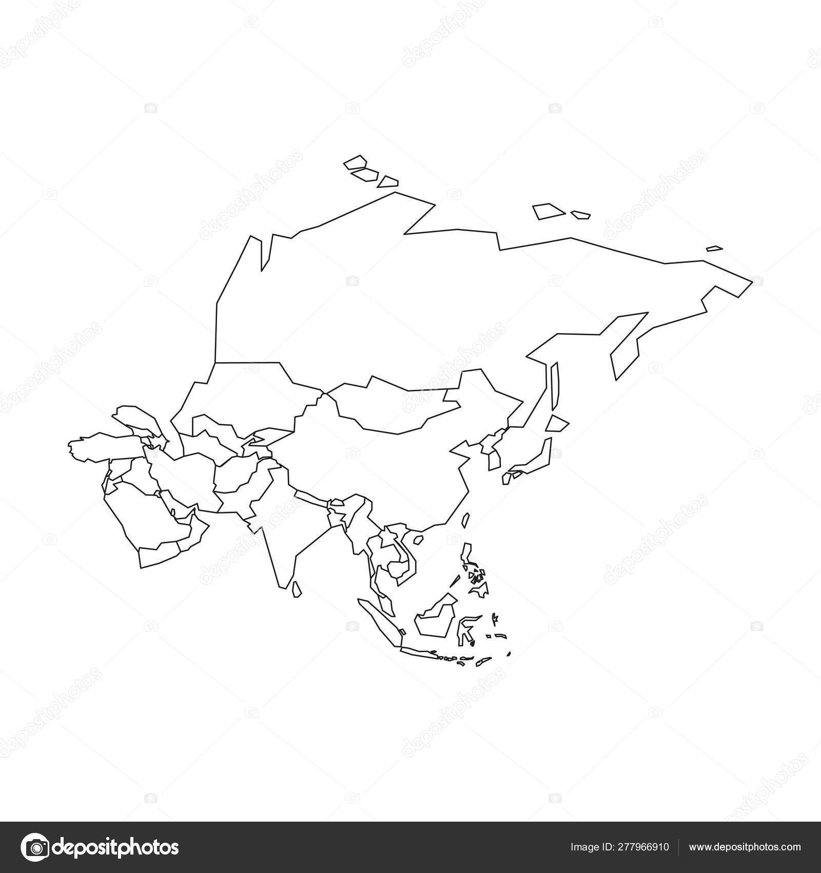 Political map of Asia. Simplified black wireframe outline ...