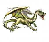 zöld sárkány szárnyakkal, mese jellegű, elszigetelt fehér háttér