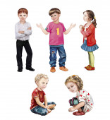 children 5-12 years old, set of images of children in a pose standing and sitting, boys and girls, isolated characters on a white background