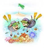 Dvě ovce na ovčí, kreslená zvířata plující na moři pod vodou, ostrov na dálku s palmovým stromem, veselá dovolená