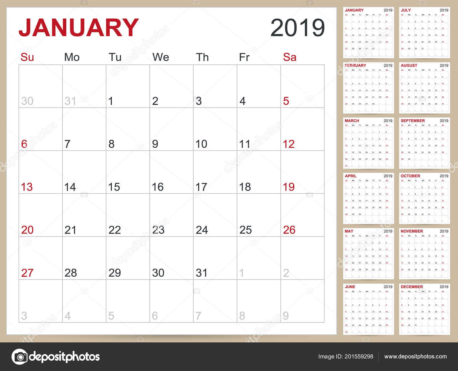 Planlama Takvim 2019 Ingiliz Takvimi Şablonunu Yıl 2019 Set
