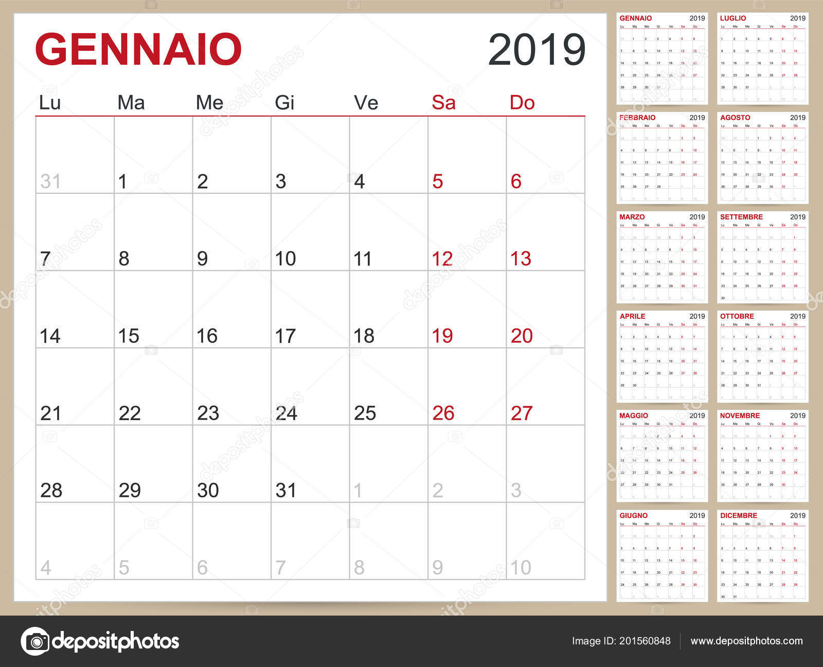 Italian Planning Calendar 2019 Italian Calendar Template Year 2019