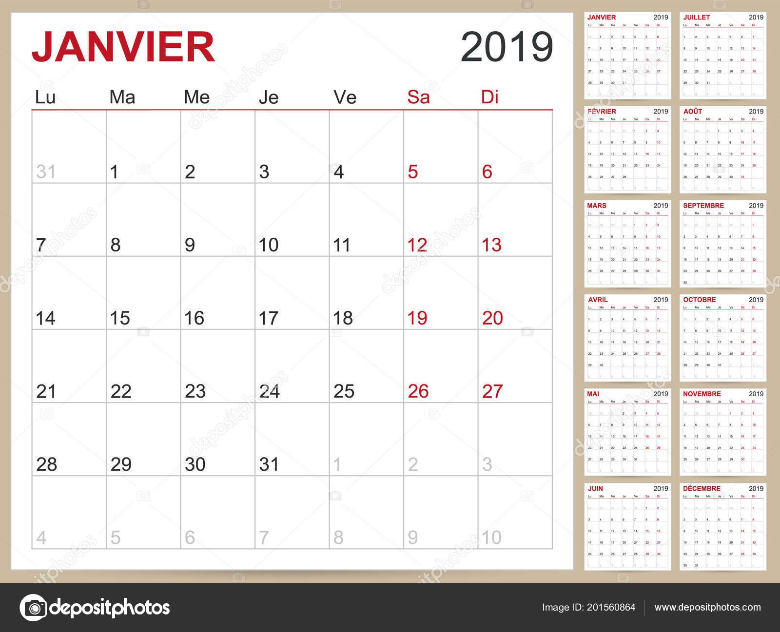 Calendario Frances.Frances Planificacion Calendario 2019 Plantilla Calendario