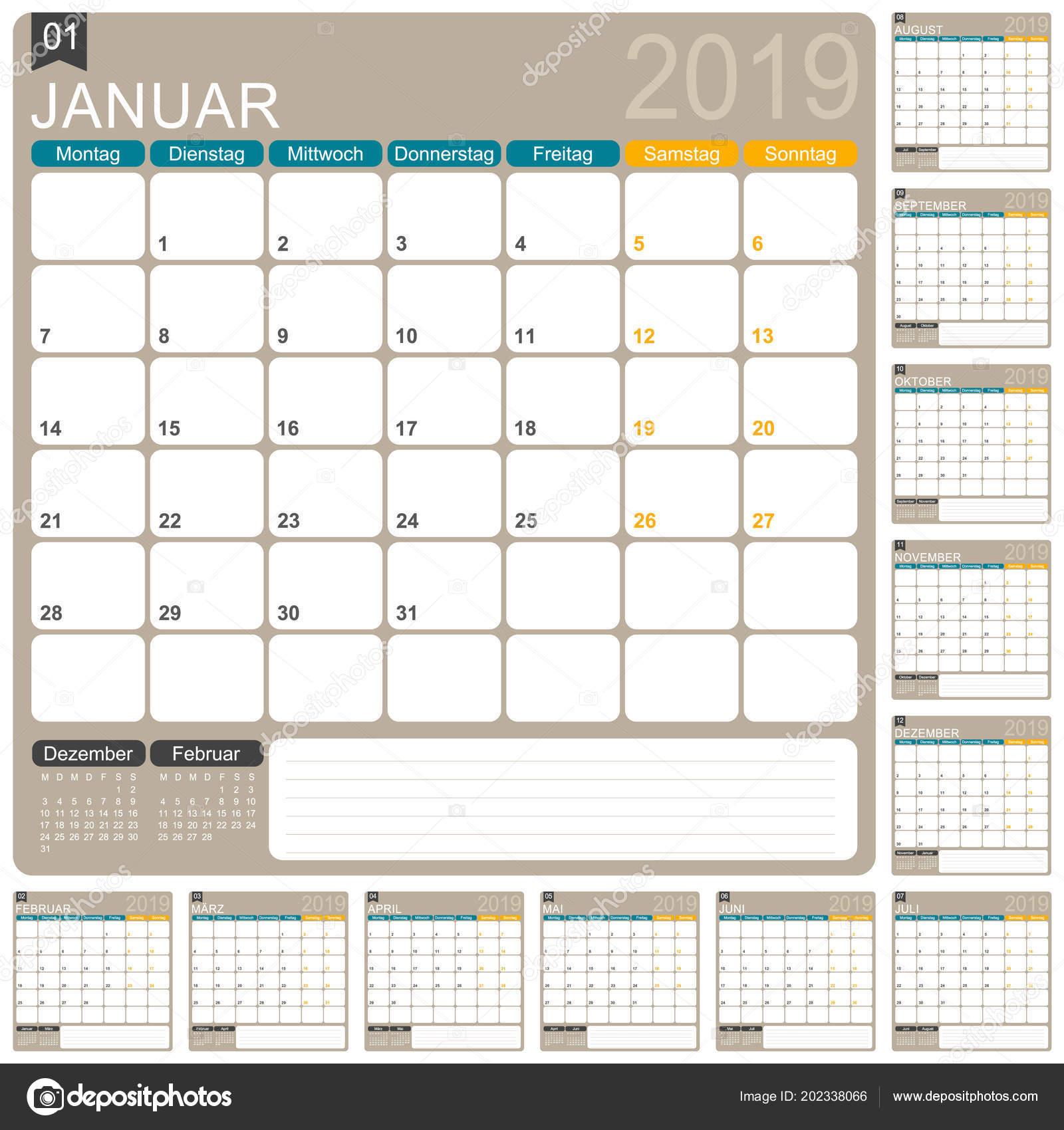 German Calendar Template Year 2019 Set Months Week Starts Monday