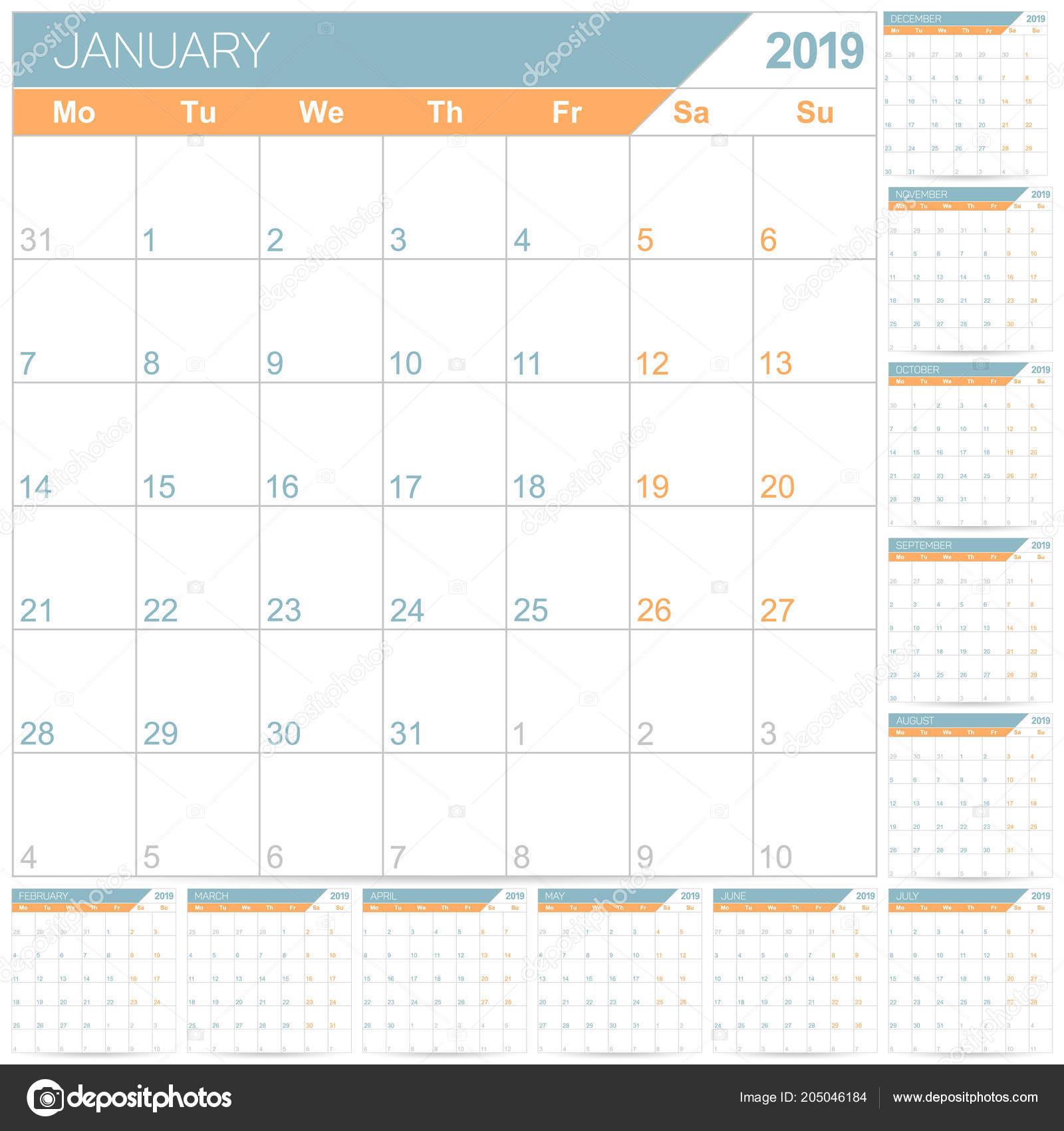 Calendario 2019 English.English Planning Calendar 2019 English Calendar Template