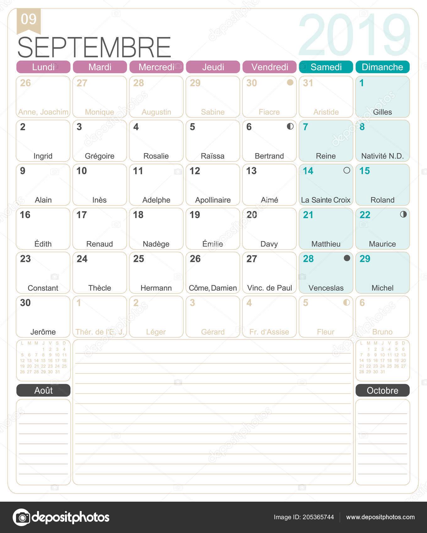 Onomastici Calendario.Calendario Francese 2019 Settembre 2019 Modello Calendario