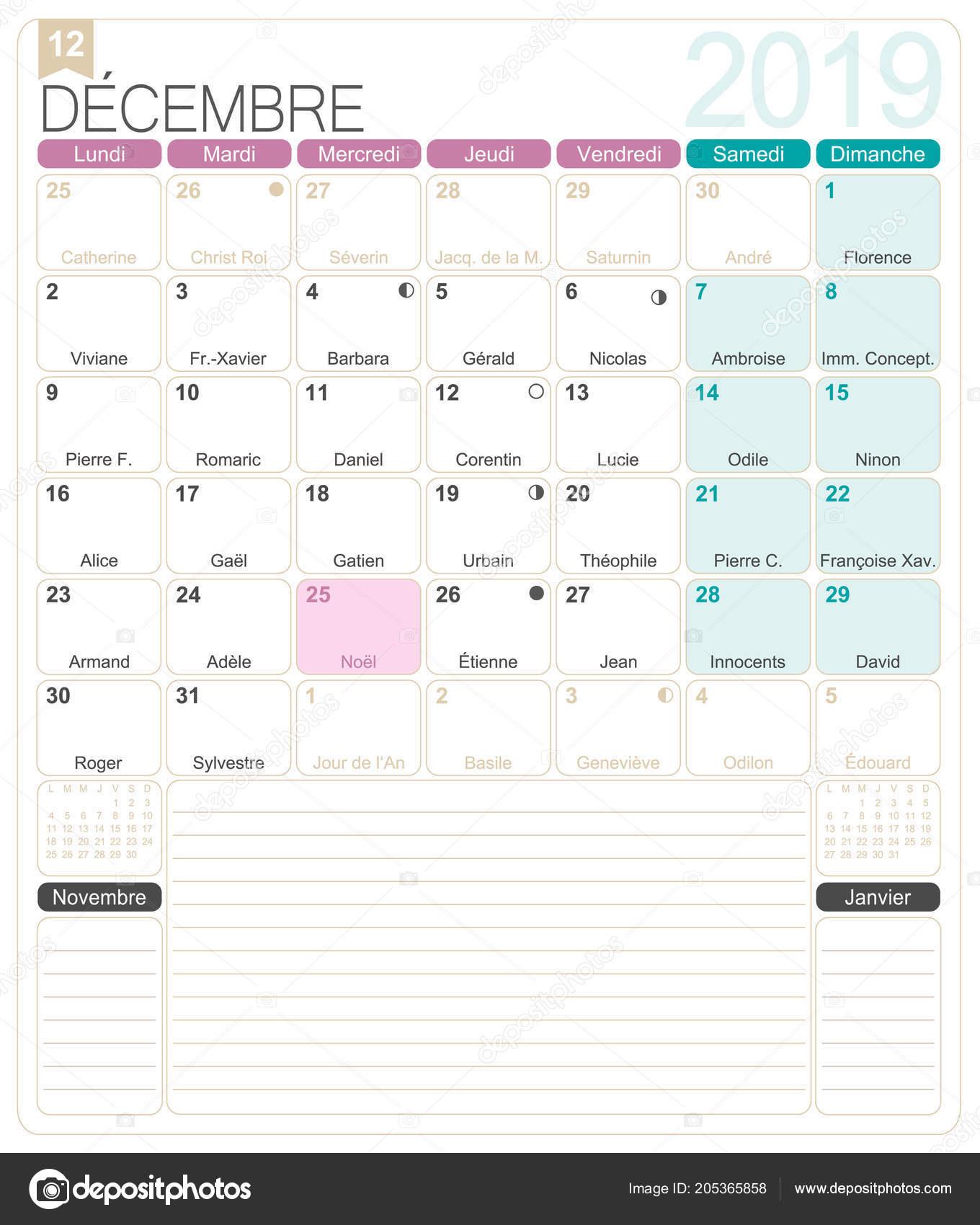 Calendario Dicembre 2019 Stampabile.Calendario Francese 2019 Dicembre 2019 Modello Calendario