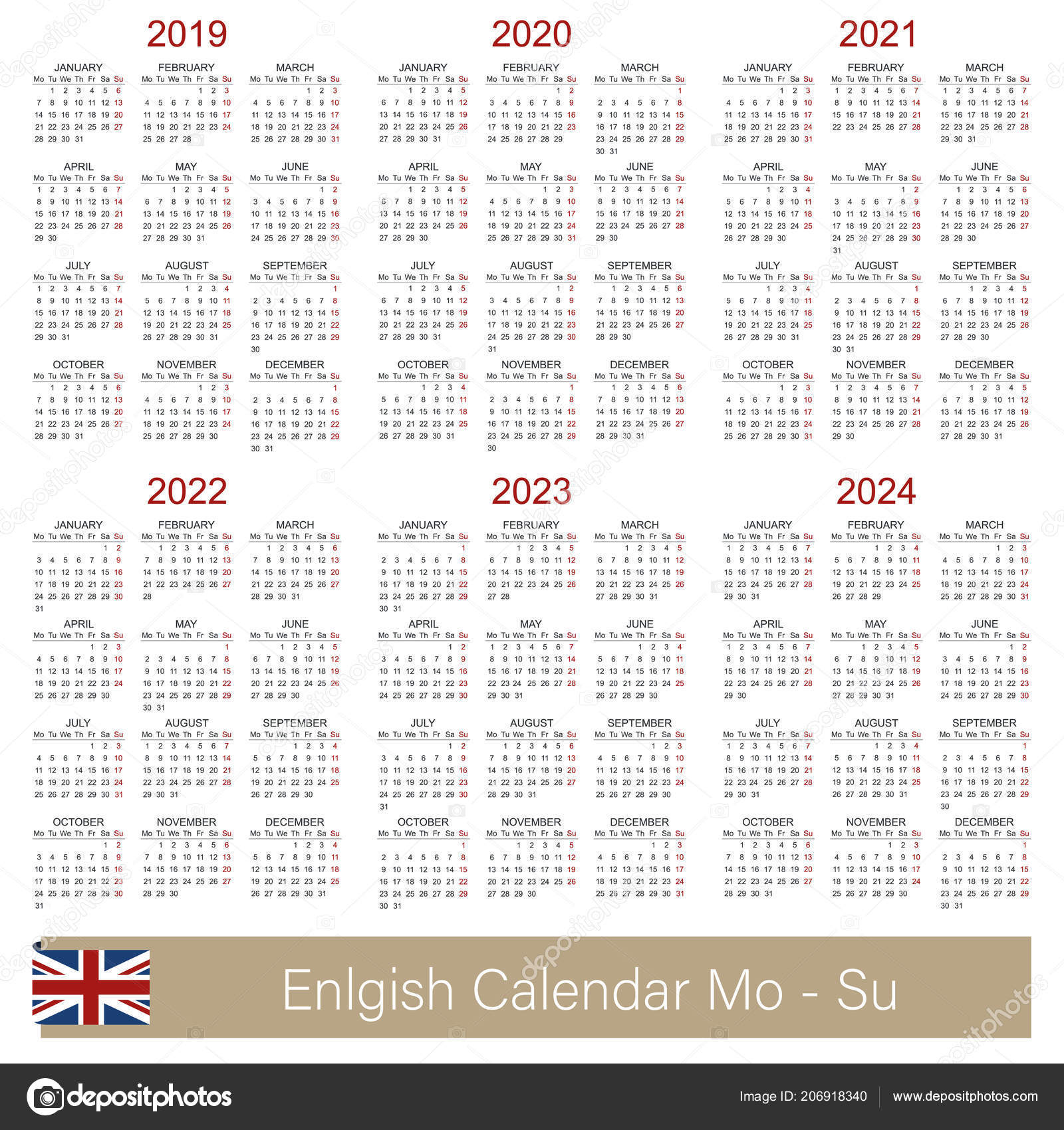 english calendar 2019 2024 week starts on monday simple calendar template for 2019 2020 2021 2022 2023 and 2024 printable calendar templates