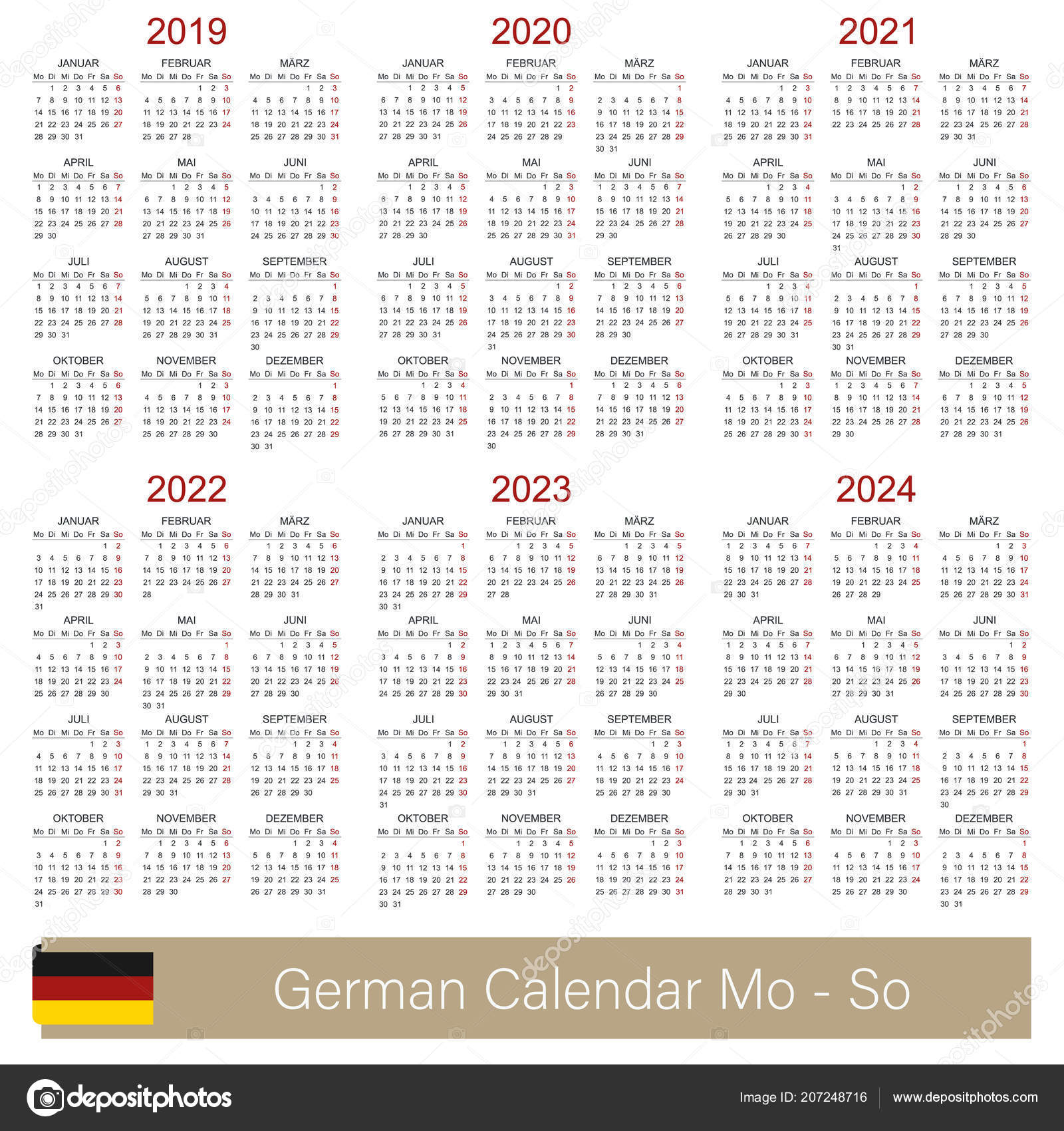 german planning calendar 2019 2024 week starts on monday simple calendar template for 2019 2020 2021 2022 2023 and 2024 printable calendar