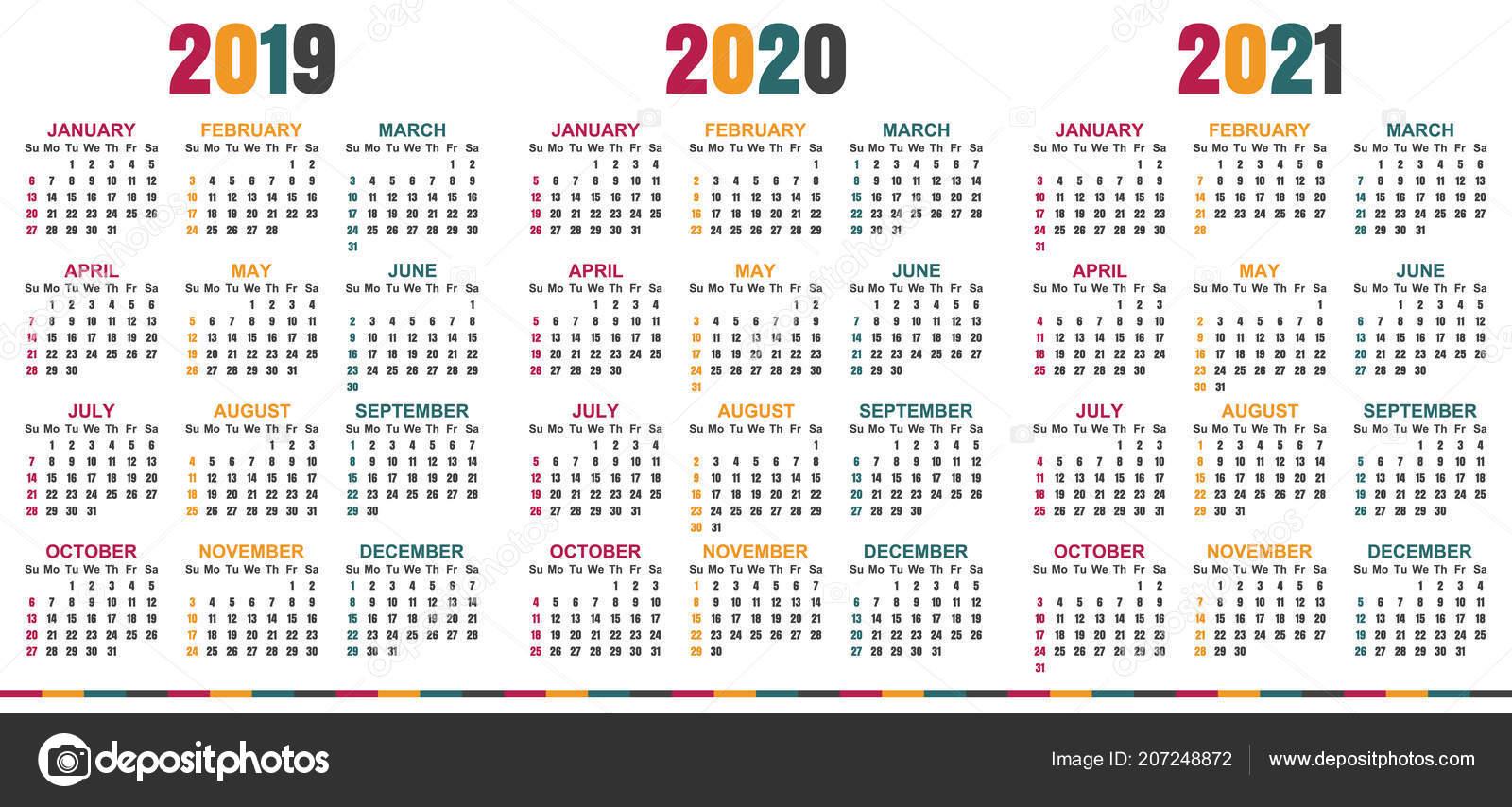 Calendario Diario Para Imprimir 2019.Planificacion Calendario 2019 2021 Semana Comienza Domingo