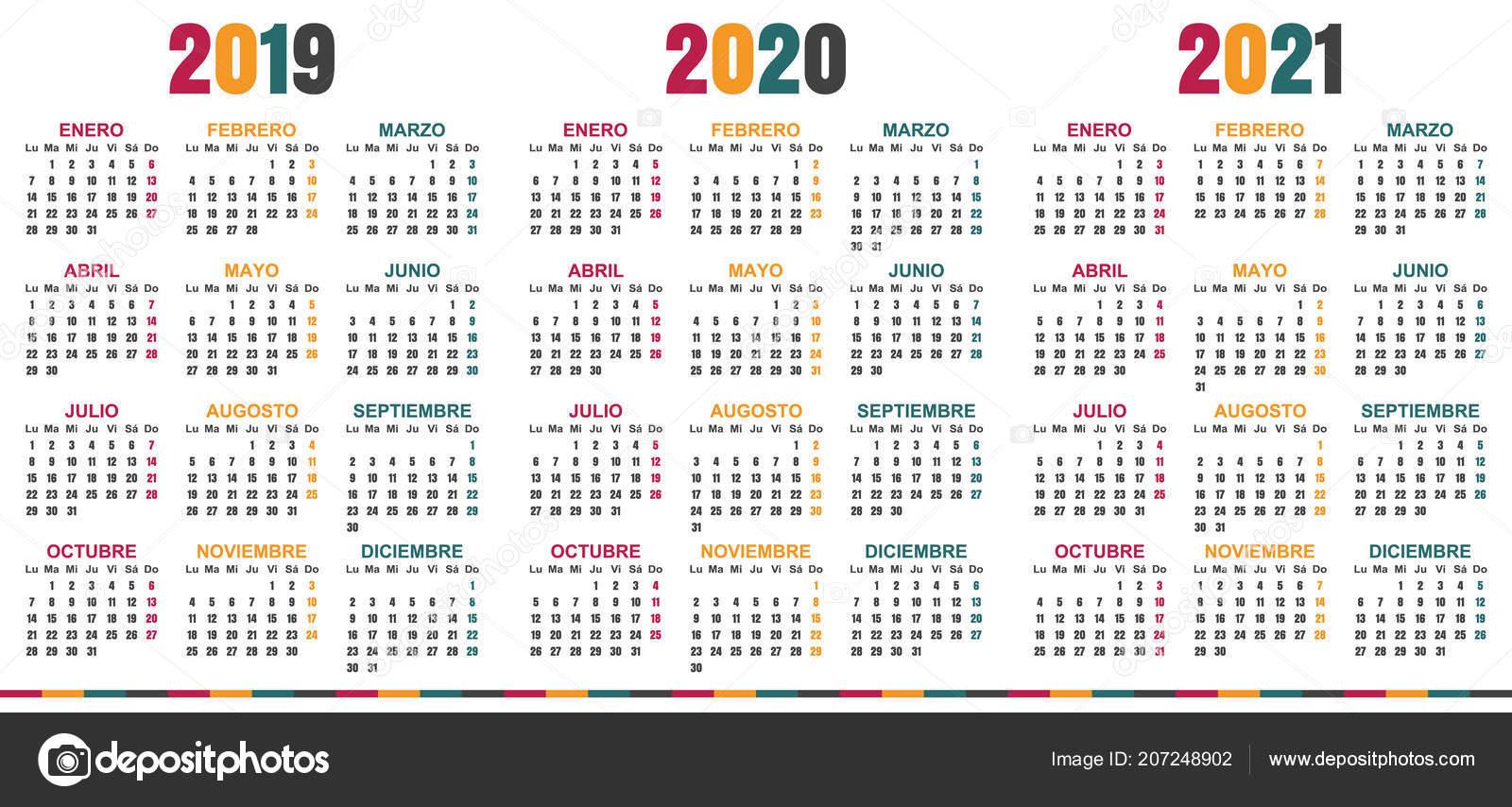 Calendario 2019 2020.Spanish Planning Calendar 2019 2021 Week Starts Monday Simple