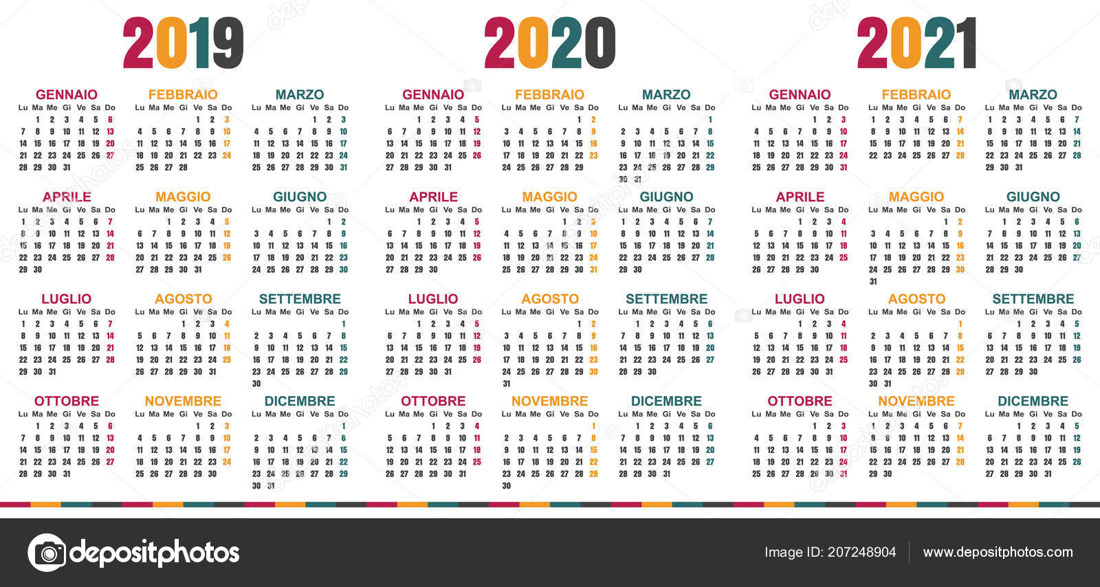 italian planning calendar 2019 2021 week starts on monday simple calendar template for 2019 2020 and 2021 printable calendar templates