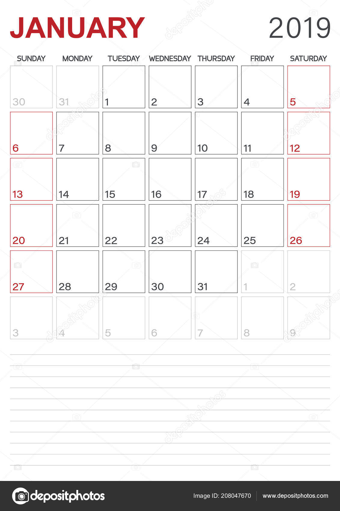English Calendar 2019 Monthly Planner Calendar January 2019 Week