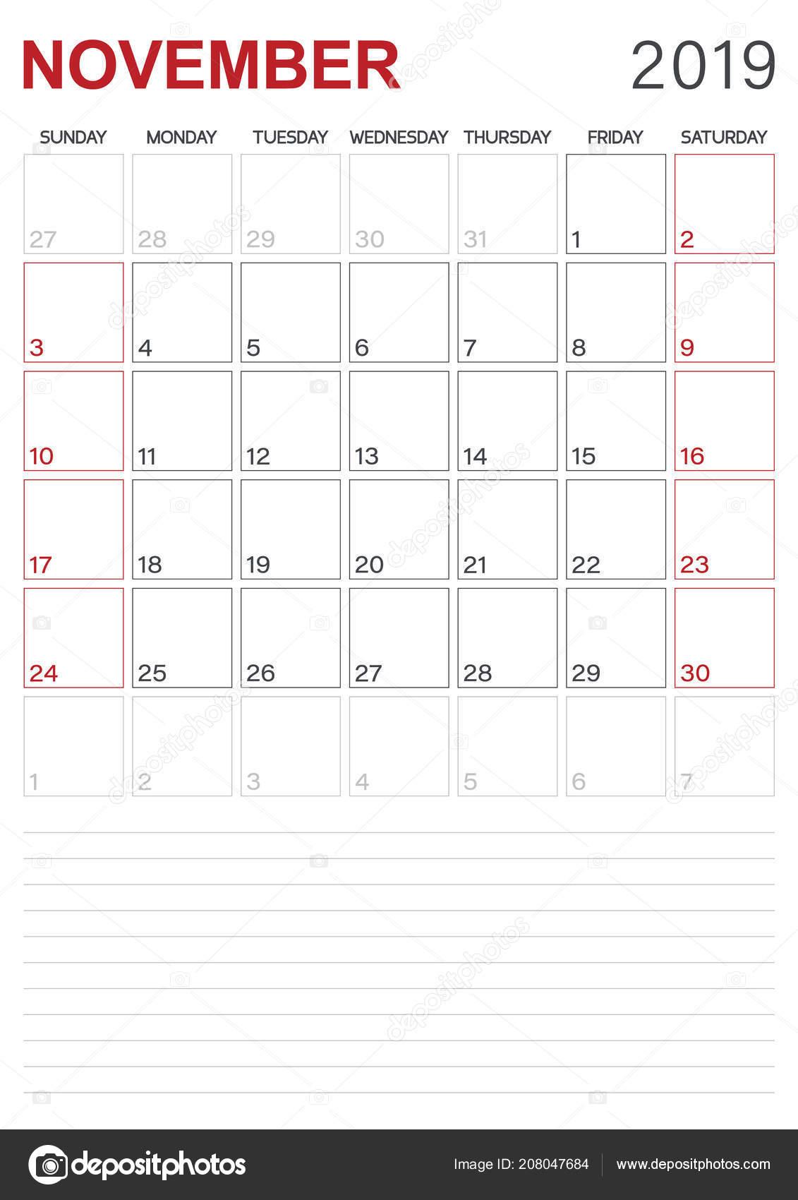 Calendrier Mois De Novembre 2019.Anglais Calendar Calendrier Planificateur 2019 Mois Novembre