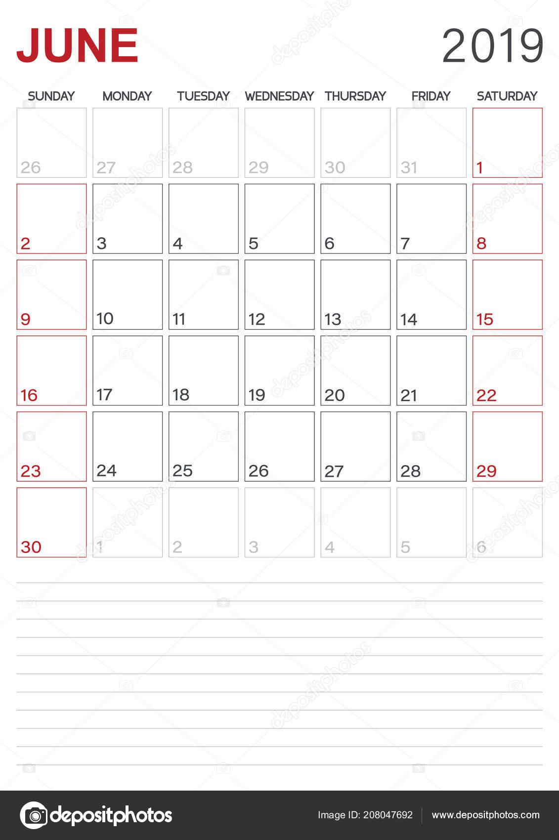 English Calendar 2019 Monthly Planner Calendar June 2019 Week Starts
