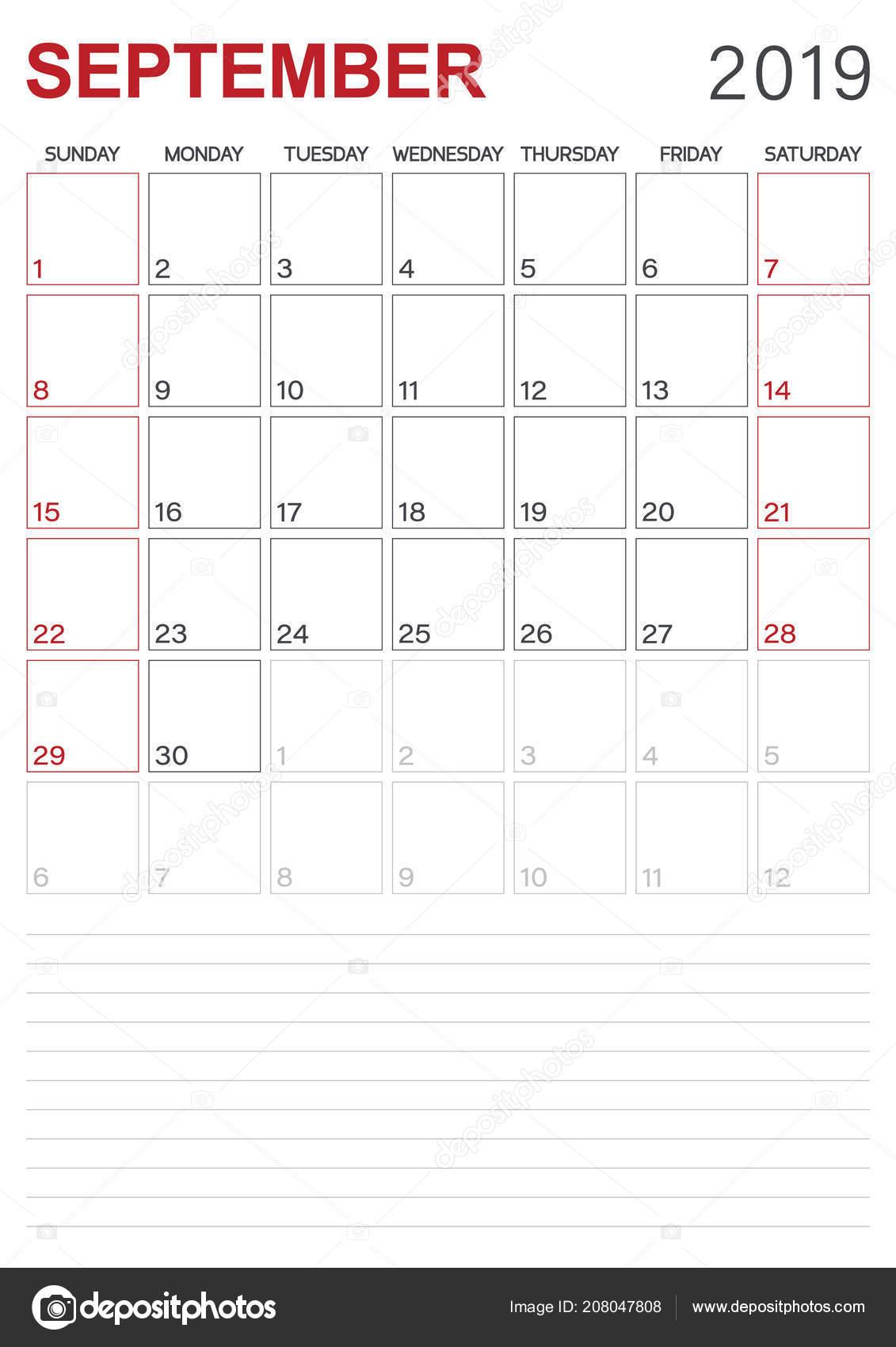 Calendrier Mois De Septembre.Anglais Calendar Calendrier Planificateur 2019 Mois