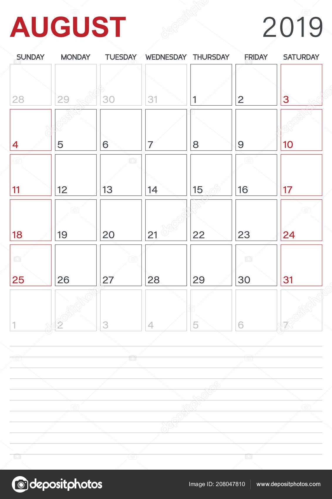 August monthly calendar 2019