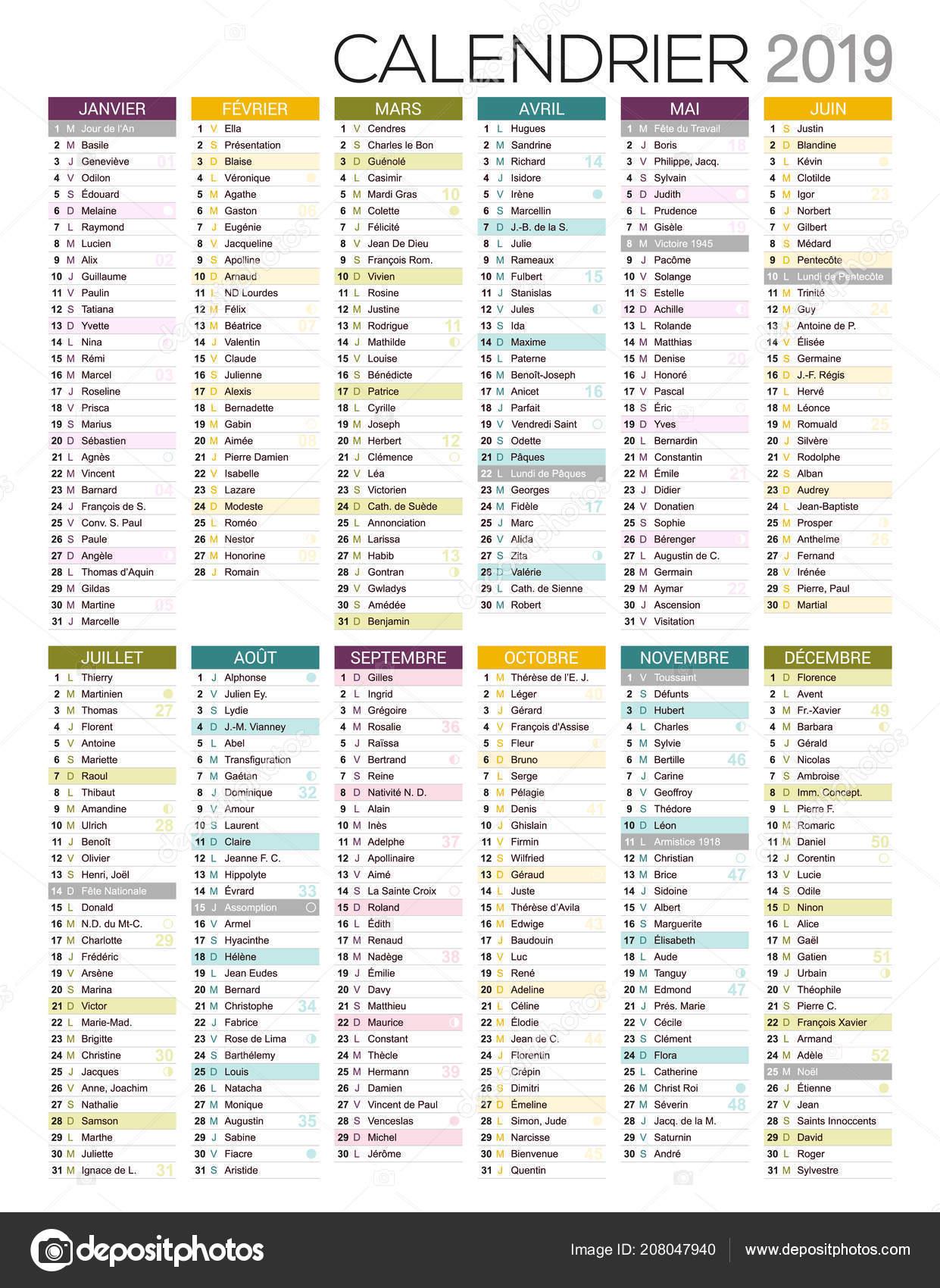 Calendario Frances.Calendario 2019 Modelo Frances Para Impressao Calendario