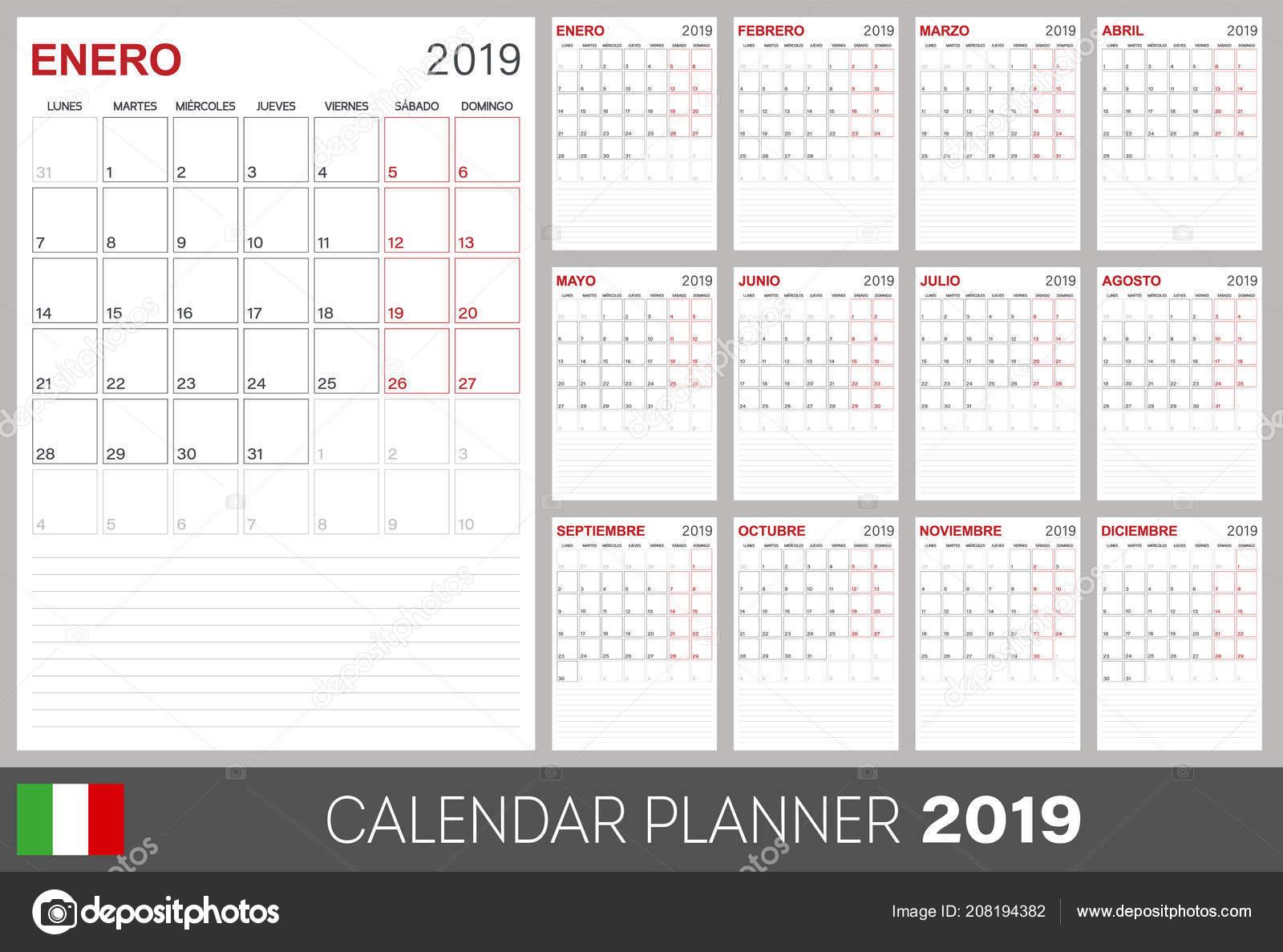 italian calendar planner 2019 week starts monday set months january