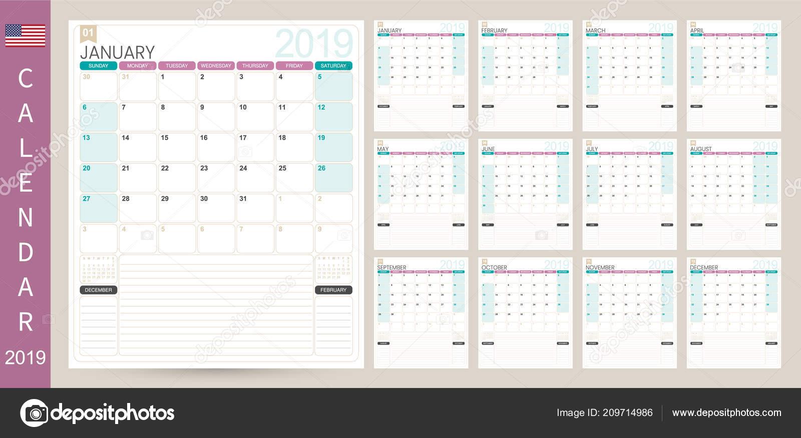 English Calendar Planner 2019 Week Starts Sunday Set Months January