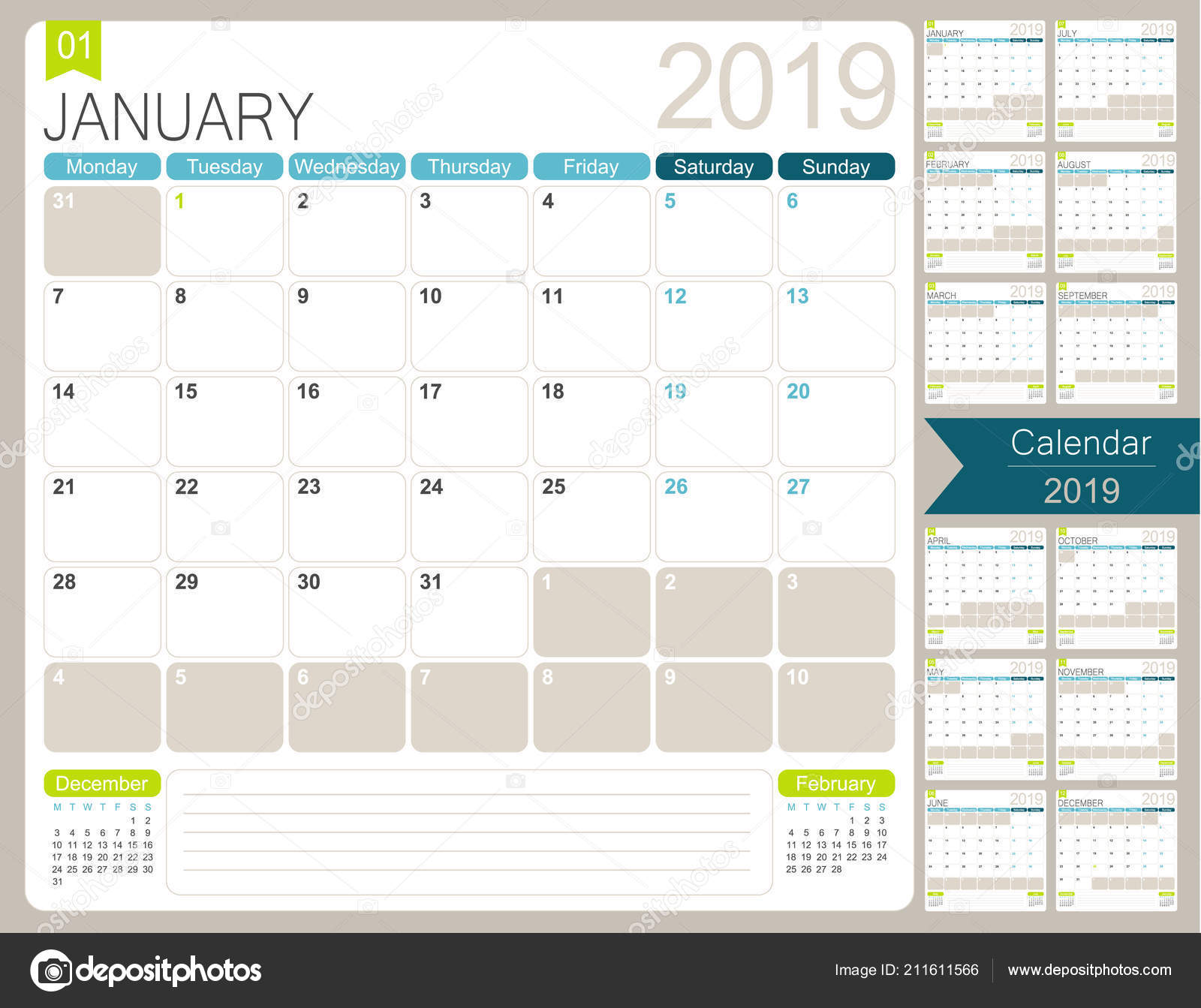 English Calendar Planner 2019 Week Starts Monday Set Months January