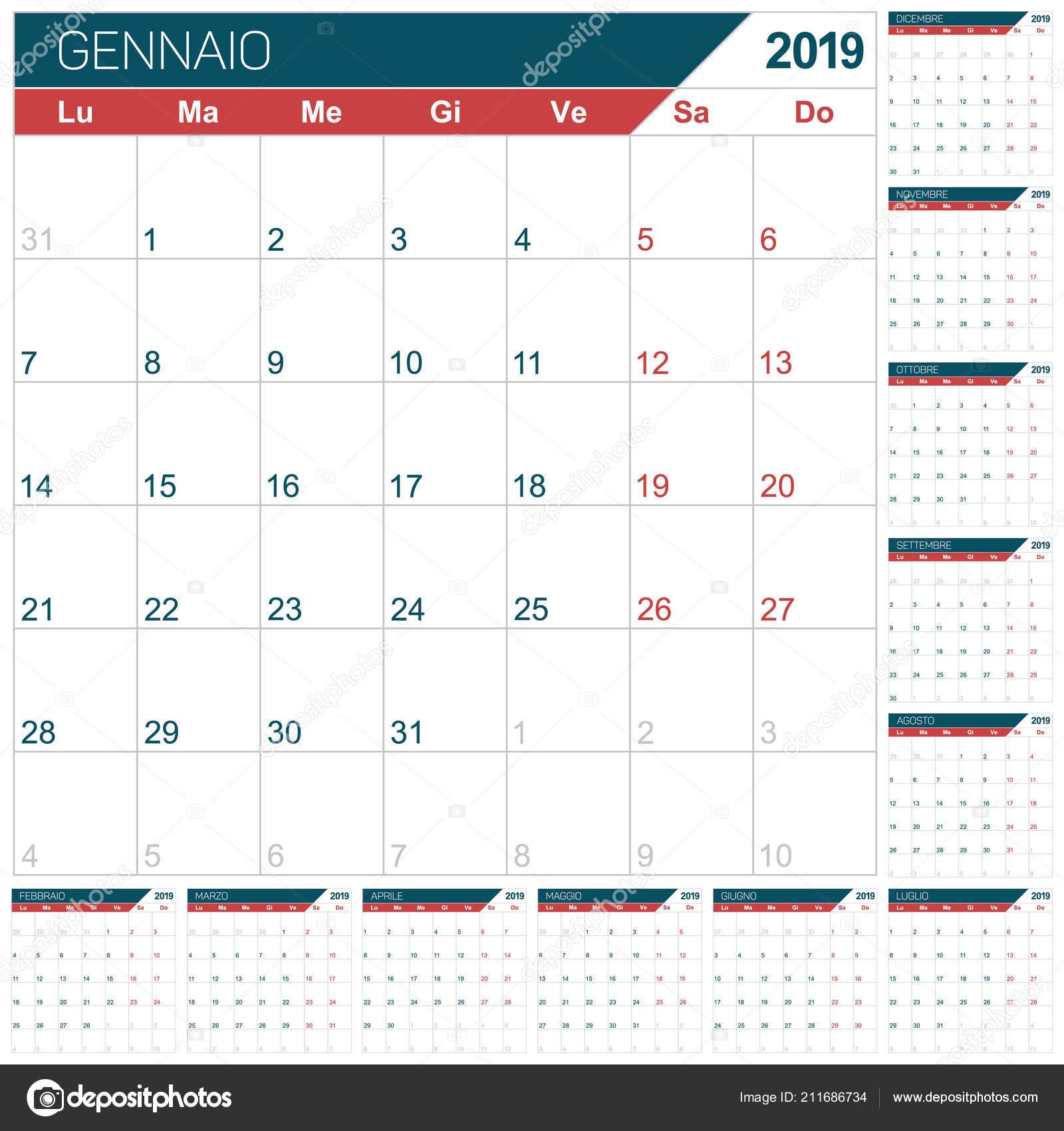 Calendario 12 Mesi.Calendario Italiano Modello Anno 2019 Serie Mesi Gennaio