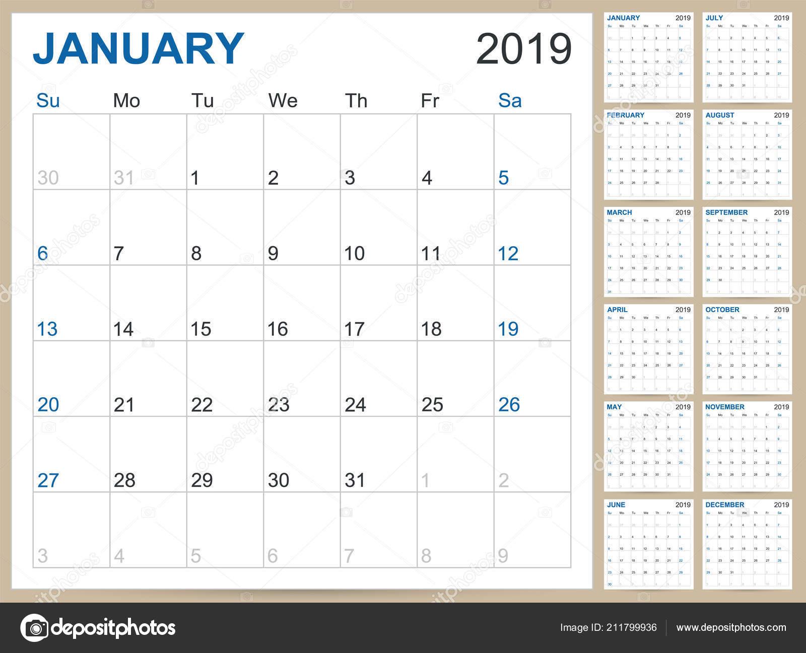 Modelli Calendario 2019.Illustrazione Vettore Inglese Pianificazione Calendario 2019