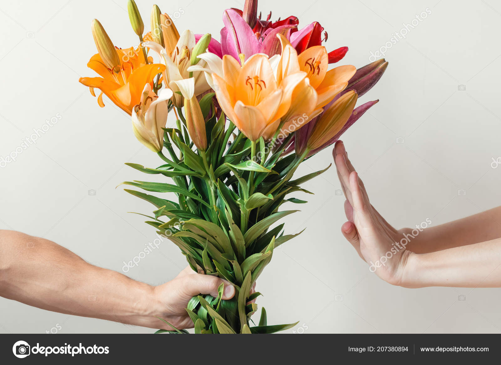 Hand Gives Bouquet Of Lilies Flowers To Girl And Receives Refusal