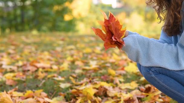 Woman holds bunch of autumn leaves in her hands and throws out one at a time