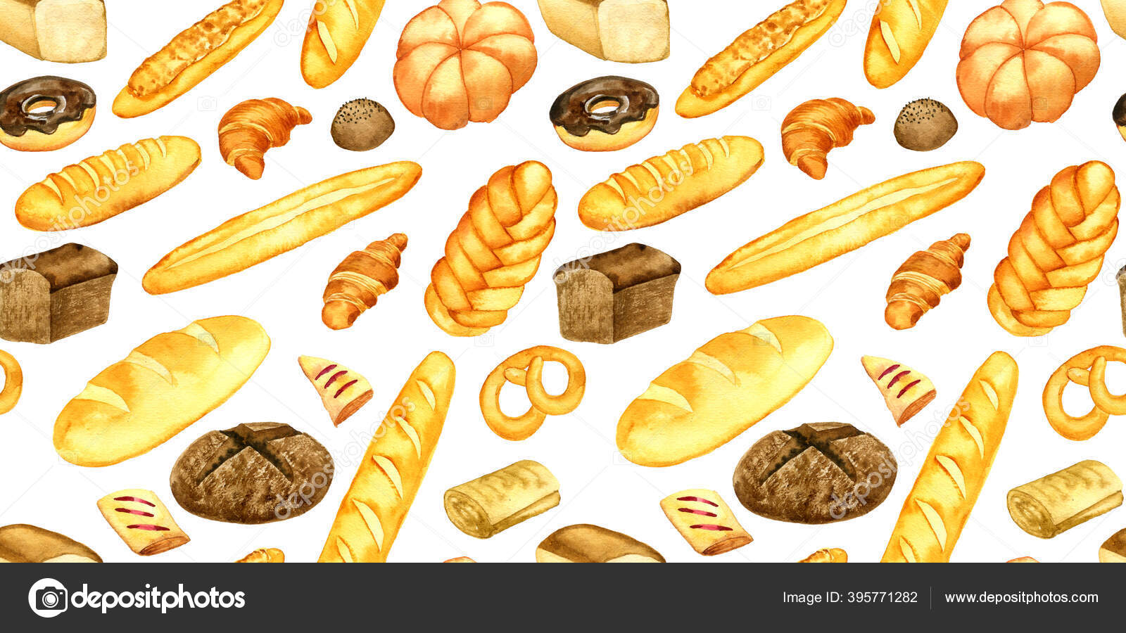 Watercolor Drawing Seamless Pattern With Bread And Bakery Stock Photo C Cat Arch Angel 395771282