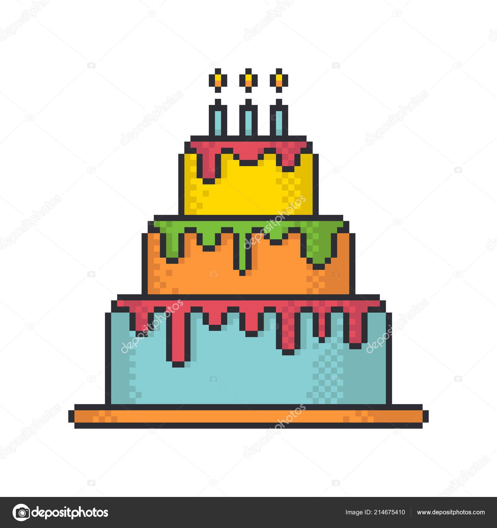 Glazed Festive Cake Pixel Art Style Vector Icon White
