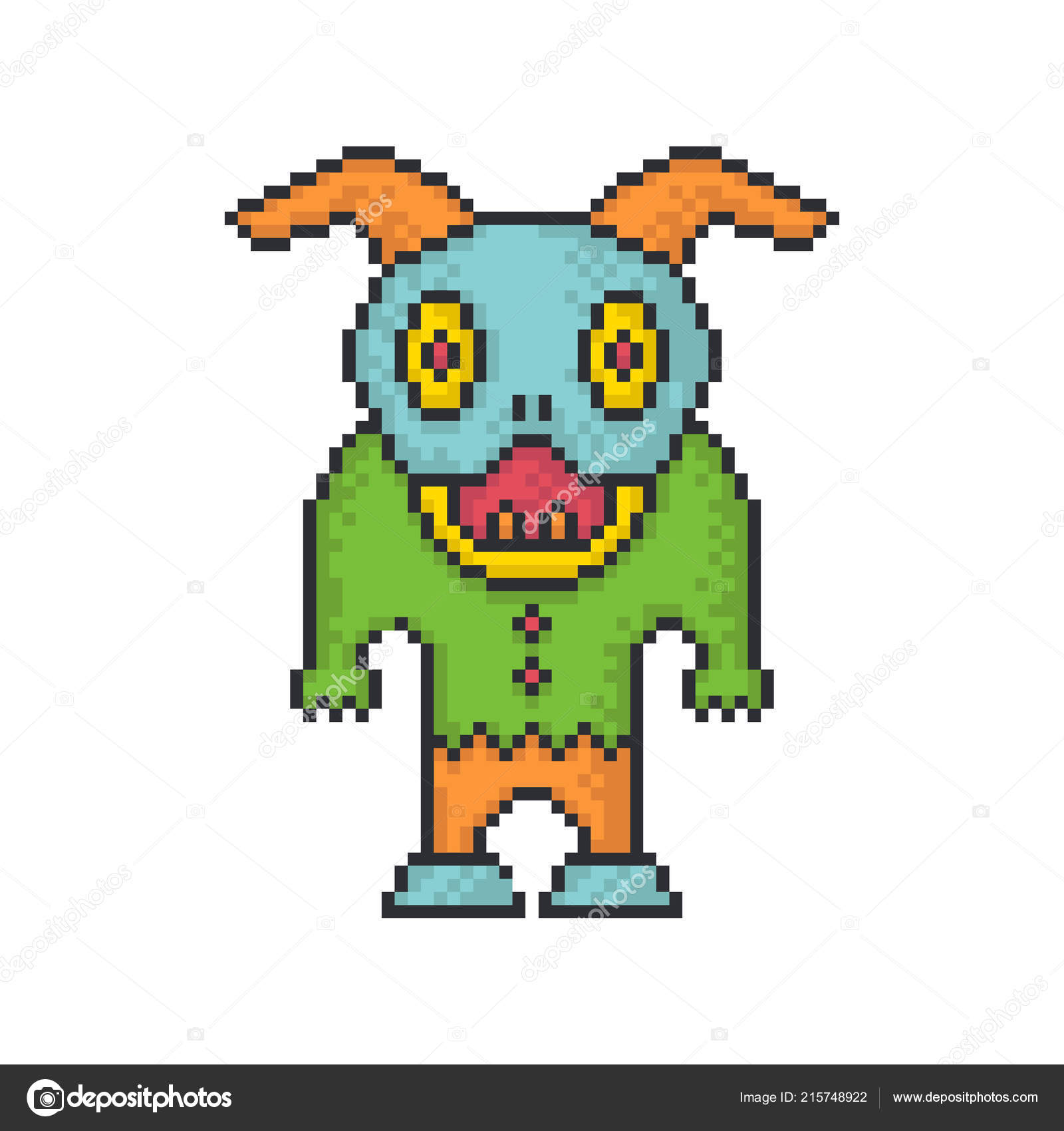 Funny Monster Pixel Art Style Vector Icon White Background