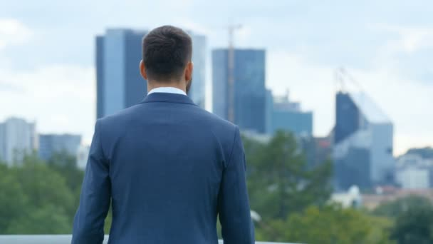 Back View Successful Business Man Admiring Cityscape of the Big City with Skyscrapers.