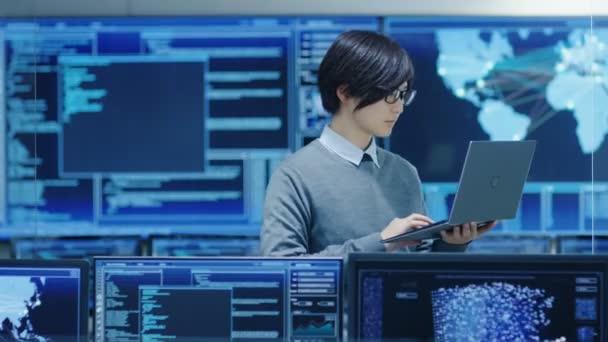 V ovládacím panelu systém Room to technik drží a funguje na notebooku, v pozadí více monitorů s grafikou. Zařízení pracuje na umělé inteligenci, velké objemy dat dolování, neuronové sítě, sledování projektu.