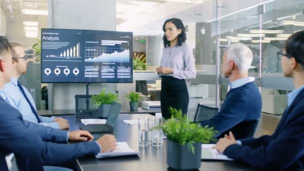Beautiful Businesswoman Gives Report/ Presentation to Her Business Colleagues in the Conference Room, She Shows Graphics, Pie Charts and Companys Growth on the Wall TV.