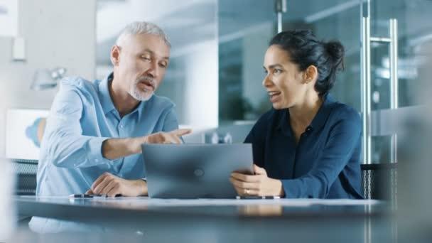 Senior Executive a mladá žena Manager pracovat na notebooku vyhrát velké a mají úspěšné chvíli, že vysoká pět navzájem a jsou Happy.