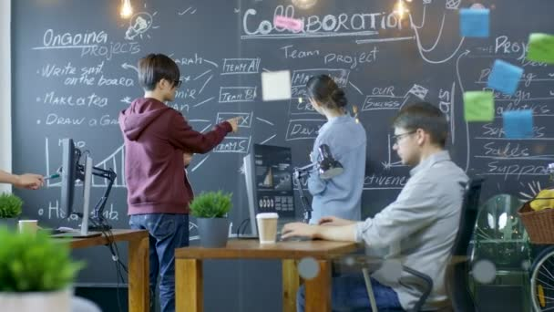 Long Shot dellufficio occupato dove giovani creativi lavorano su Personal computer, disegnare la struttura di progetto il Blackwall e avere discussioni con i colleghi. Persone eleganti in un ambiente alla moda